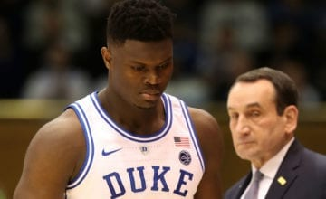 Zion Williamson talking to Coach K